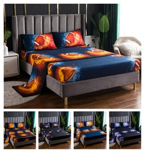 New Hot style digital 3D printed Basketball fire football basketball baseball fitted sheet bed sheet pillow case four piece set