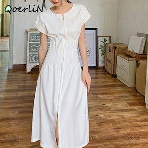 Minimalista Francese Elegante Bianco Tè Bianco Abito Temperaglio Alto Vita Slim Long Dress Maxi Plus Size Zipper Abito a maniche corte Donne # Q054