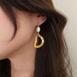 Irregular Metal Geometric Oval Pendant Gold Earrings For Women Fashion Jewelries Elegant Long Big Stud Ear Jewellery Gifts