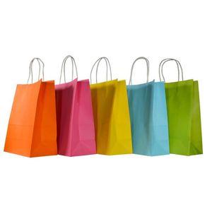 مخصص شعار كرافت ورقة حقيبة 9 الصلبة الألوان مهرجان هدية حزمة براون حقيبة يد الحلوى أكياس التسوق الملونة 345 J2