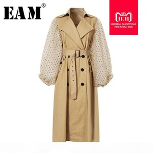 [EAM] 2018 New Autumn Winter Lapel Long Puff Sleeve Sashes Dot Mesh Stitching Loose Long Windbreaker Women Coat Fashion JH394 Y18110804