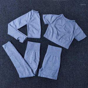 4 шт. Йога набор спортивной одежды для женщин тренажерный зал одежда спортивный костюм фитнес с длинным рукавом урожай высотой высокие легинги на поясе Suits1