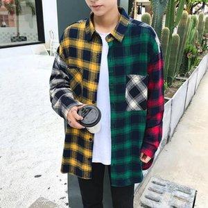Корейский стиль рубашки Мужчины Блуза Block Hit Color Hip Hop Одежда Сыпучие Streetwear топы Мужские рубашки и блузки с длинным рукавом Одежда