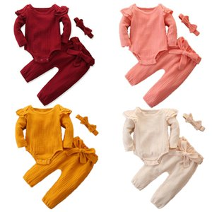 Baby Girls Outfits Suit 4 Color Toddler Ruffler Long Sleeve Romper Tops Kids Casual Clothes Girls Cotton Pants Headband Kids Casual Set 06
