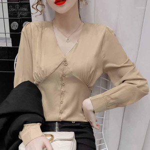 V-neck Splicing Corset Slim Solid Buttons Shirts French Elegant Pleated Long Sleeve Satin Blouse Women Spring Waist Tops 122631
