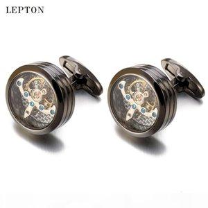 High quality Movement Tourbillon Cufflinks For Mens Wedding Groom Mechanical Watch Steampunk Gear Cufflinks Relojes Gemelos CJ191116