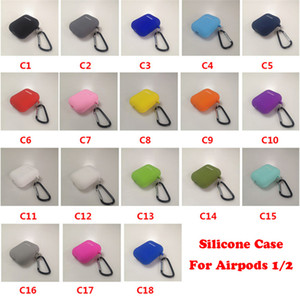 Custodia morbida in silicone per AirPods 1/2/3 Mini Slim TPU Copertura per cuffie Bluetooth Bluetooth per AirPods Pro 4 Mini con gancio in metallo