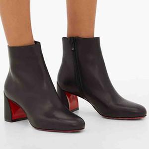 Stivali neri invernali womens caviglia boot turela 55mm-tacchi rossi fondo femminile scarpe da donna in vera pelle caviglia stivali da festa