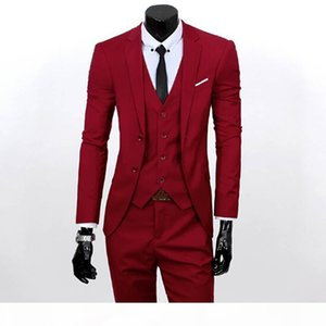 Men 3 Piece Suits Set Jacket+Pants+Vest Brand Costume Clothing Formal Dress Wedding Suit For Homme Groom Business Tuxedos free shipping