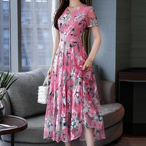 floral dress Women Elegant slim fit Women Summer Short Sleeve Printing sun dress vestidos largos Drop Shipping