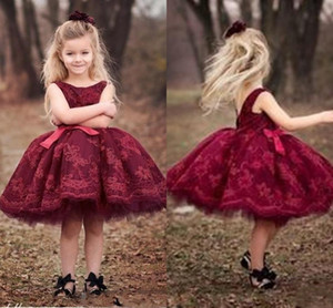 Burgundy Flower Girl Dresses Lace Appliques Jewel Princess Short Party Little Girl Ball Gown Pageant Dresses First Communion Gowns L162