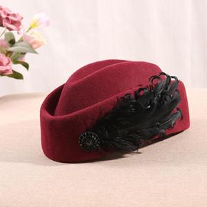 Winter British stewardess pillbox caps Korean women feather decorated beret 100% wool felt fascinator fedora hat 54-56cm 56-58cm