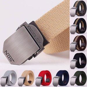 Wholesale 110 120 140cm   Fashion Boutique Canvas Pure Color Stripe Mens and Women Metal Outdoor Belt   Male Casual Jeans Belts