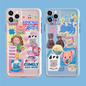 Contracted ins wind taste unique personality label stitching label lovely cake bear girl iPhone12pro mobile phone protection shell