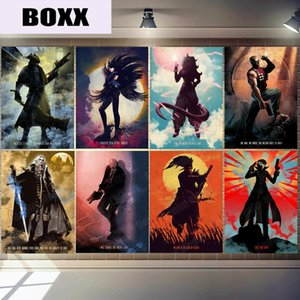 Gaming Characters Plaque Vintage Metal Art Poster Home Bar Pub Bedroom Decor Samurai Bloodborne Wall Sticker Agent 47 Sign MN154
