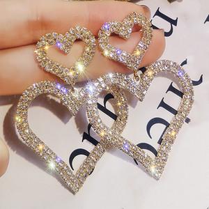 2021 Exaggerated Fashion Crystal Double Heart Earrings Contracted Joker Long Women Drop Earrings Wedding Bridal Accessories Jewelry AL8160