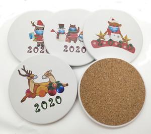 Artificial Ceramics Christmas Cartoon Printing Santa Snowman 2020 Mug Coaster Round Non Slip Cup Mat Coffee Coasters FY4310