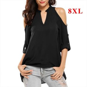 Plus Size 8XL Blouses Woman 2019 Off Shoulder Top Summer Women Tops and Blouse Long Sleeve Chiffon Blouses Female V neck Shirts