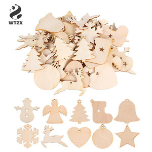 10pcs lot Wooden Round Bauble Hanging Christmas Tree Blank Decorations Gift Tag Shapes