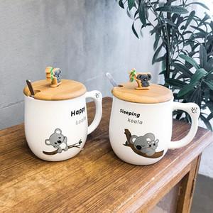 Cartoon Animal Wooden Lid Koala Ceramic Cup Creative Mug Men and Women Students Couple Mug Water Cup