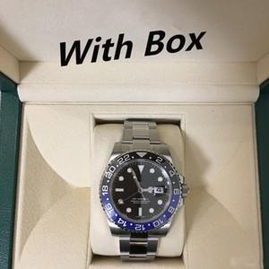 Erkek Saatler 40mm Kol Saati Mavi Siyah Seramik Çerçeve Paslanmaz Çelik İzle 116710 Otomatik GMT Hareketi Sınırlı İzle Orologio