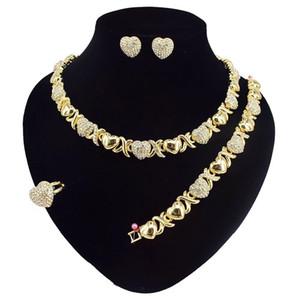 2021 مجموعة مجوهرات للنساء القلائد أقراط 14K الذهب مجموعات مجوهرات للنساء أقراط مجوهرات الزفاف للنساء مجموعة