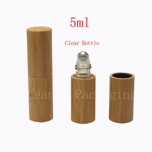 high quality 5ML roll on bamboo bottles essential oil perfume deodorant packaging bottle portable massage ball roller glass vial