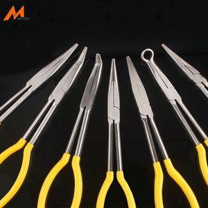 11-Zoll-Multi-Funktions-Long Reach 45-Grad-90-Grad-Bent Spitzzange Schnabelschlauch Ring Lange Zange Mechaniker Handwerkzeug Nur0 #