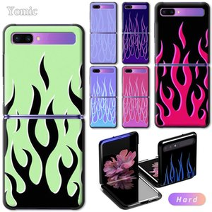 """Yomic Hard Case for Samsung Galaxy Z Flip 6.7"""" Black Mobile Phone Bag Cover Cool Green Red Flame Fire ZFlip 5G PC Protect Shell"""