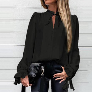 Autumn Wild Black Lace Up V-Neck Women Blouses Solid Long Sleeve Womens Blouse 2021 Summer New Fashion Casual Office Ladies Tops1