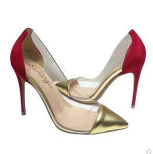 Pompes Fashion Designer de luxe Chaussures Femme Talons High Talons 8cm 10cm 12cm Red Bas rouge pointus orteils Stiletto chaussures de fond robe de fond