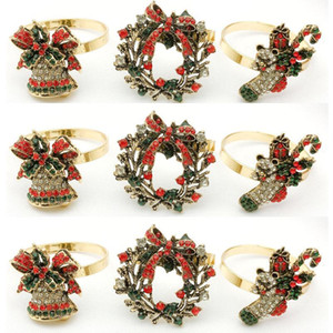 12   PCS Hotel Christmas Wreath boots bell inlaid diamond napkin buckle napkin ring mouth cloth ring manufacturer wh