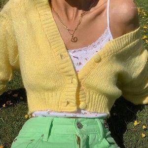 Knitwear sweater woman versatile V-neck knitted jacket cardigan channel earrings cropped cardigan1