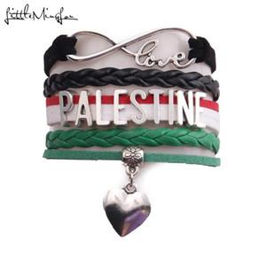 Kadınlar mücevher Little Minglou Infinity aşk ülke Filistin Bilezik kalp Charm deri sarma erkek bilezik bilezikler