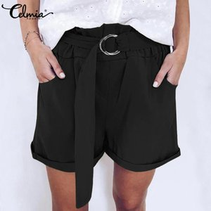 Fashion Women High Waist Shorts Celmia 2020 Summer Casual Vintage Solid Shorts Belted Loose Pockets Plus Size 5XL