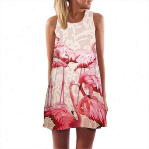 Print Flamingo White Chiffon Dress Women Fashion Sleeveless Casual Summer Dress Ladies Mini Cute Party Vestidos designer clothes
