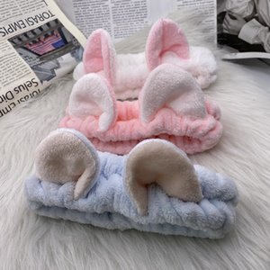 Carino Flannel Cat Ears Elastic Hair Band Fandbands per le donne Ragazze Lavare il viso Makeup Fascia Fascia Abbigliamento Kawaii Accessori