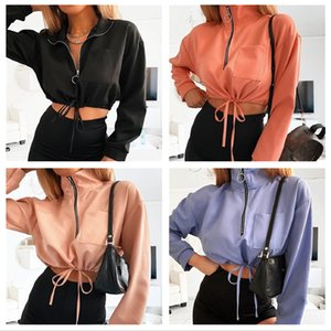 Autumn   winter 2020 women's wear ins style standing collar long sleeve drawstring short coat top women