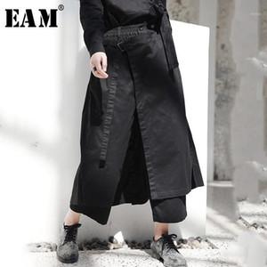 [EAM] 2019 Yeni Bahar Yüksek Elastik Bel Siyah Gevşek Havalandırma Gevşek Uzun Geniş Bacak Pantolon Pantolon Kadınlar Moda Gelgit Ji0841