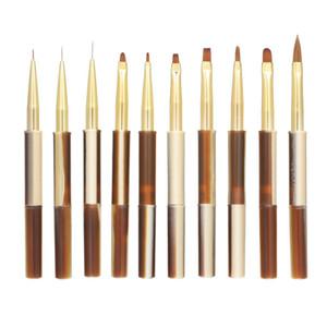 10pcs UV Gel Acrylic Nail Brushes Kit for False Nail Tips Builder Nail Art Design Painting Liner Pen Set