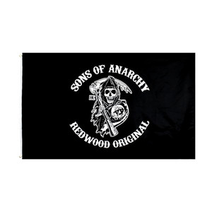 Sons of anarchy Flag FREE Shipping Direct factory wholesale stock 3x5Ft 90x150cm 100% Polyest for Hanging Decoration Sickle skull banner