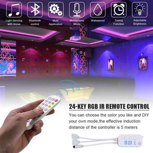 5M Newest Design LED Strip Lights RGB Strips Tape Light 150 LEDs SMD5050 Waterproof Bluetooth Controller + 24Key Remote Control