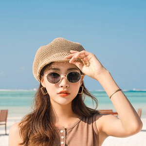 Foux Octagonal Cap Straw Women Summer Thin Newsboy Cap Painter Adjustable Rope Knitted Beret Mesh Breathable Boinas Para Mujer