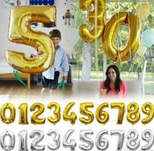 Helium Air Balloon Number Letter Shaped Gold Silver Inflatable Ballons Birthday Wedding Decoration Event Party Supplies 32 Inch YYSY42