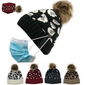 الشتاء المصممين التريكو صفعة القبعة للمرأة يوبارد بيني مع قناع الوجه حامل زر مكبل كاب الجمجمة بوم إزالة الكرة قبعات D102704