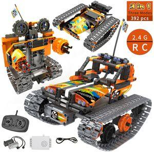 3 in 1 RC Stunt Car City Technic Building Blocks Toys Remote Control Car Robot Track STEM Bricks Educational Toys For Children 201015