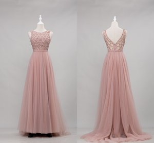 Elegant Dusty Pink Pearls Prom Dresses 2021 Cheap Jewel Neck A line Beaded Sequins Pageant Evening Formal Gowns Pageant Celebrity Dress