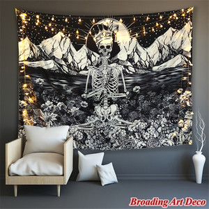 Skull Re Meditare In Fiori Tapestry Wall Hanging poliestere stampato Hippie Arazzi Black Cat Ouija Witchcraft Blanket