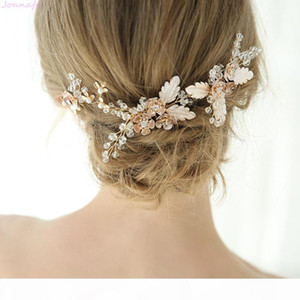 wholesale Bridal Hair Comb Pin Set Gold Floral Women Ceremony Headpiece Wedding Jewelry Hair Accessories