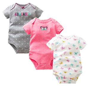 de fois Favorite 3PCS / LOT Bébé Garçons Filles Vêtements d'été nouvelle mode 100% coton barboteuse manches courtes Nouveau-né bébé 1021